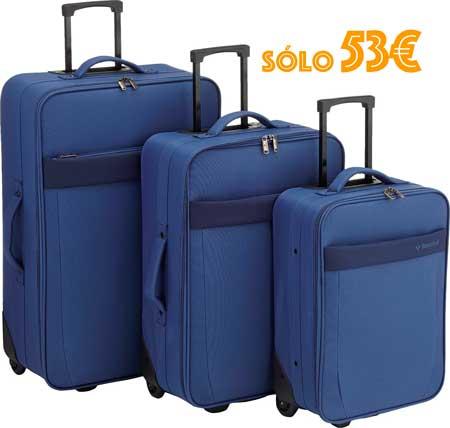 Juego de 3 maletas Saxoline baratas 53 euros, pack de maletas baratas saxoline,