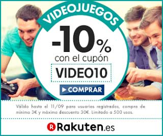 Código Descuento 10% en videojuegos Rakuten, rakuten oferta videojuegos, videojuegos baratos con codigo descuento,