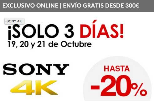 Oferta en Televisores Sony 4K hasta un 20% descuento adicional en El Corte Inglés