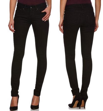 Pantalón vaquero Levi´s Slight Curve pitillos negro baratos, pantalon barato en amazon con oferta en levis strauss slight curve negros,
