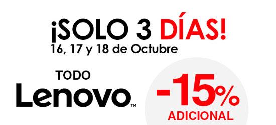 TODO Lenovo al 15% Descuento Adicional en El Corte Inglés. Días 16, 17 y 18 Octubre