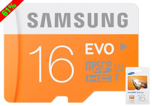 Chollo Tarjeta de memoria MicroSD Samsung EVO 16GB barata 5 euros 61% Descuento