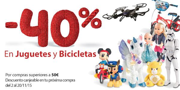 Promoción! Todos los Juguetes y Bicicletas al 40% Descuento en Carrefour. 29 Octubre al 1 Noviembre