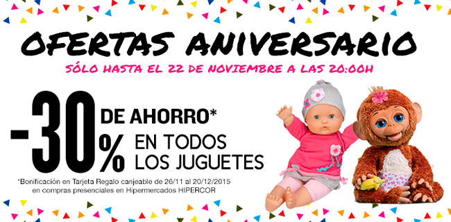 ¡Chollazo! 30% Ahorro en TODOS los Juguetes de Hipercor día 20, 21 y 22 Noviembre