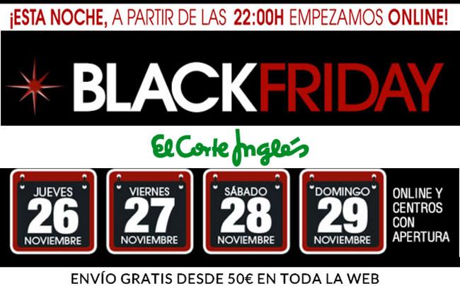 eaef20c0b7 Black Friday en El Corte Inglés. Ofertas desde el día 26 al 29 de Noviembre