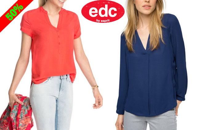 ¡Chollo! Camisas Blusa de mujer edc by Esprit baratas desde 12 euros. 50% Descuento