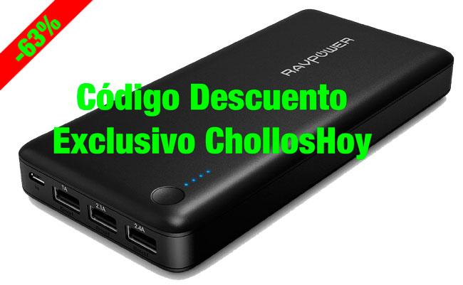 ¡Chollo! Batería Externa 3 Puertos USB RAVPower 26800mAh barata 33 euros. 63% Descuento