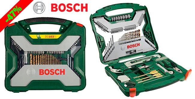 ¡Chollo! Juego de Brocas Herramientas 103 piezas Bosch X-Line barato 34 euros. 47% Descuento