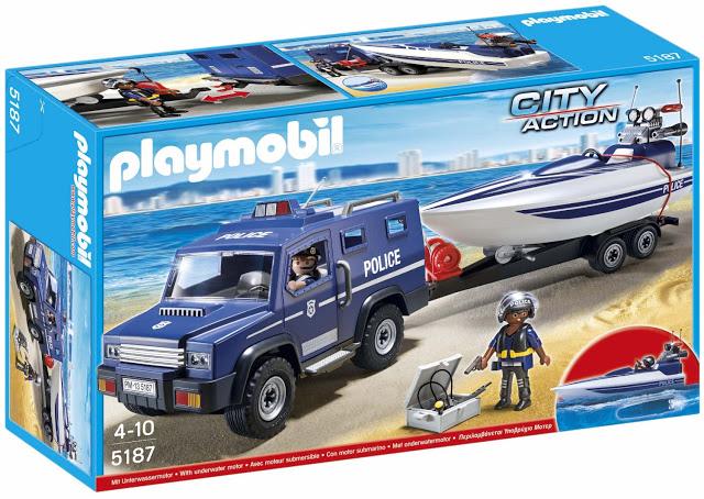 ¡¡Chollo!! Coche con remolque y lancha de Policía Playmobil 5187 barato 24 euros