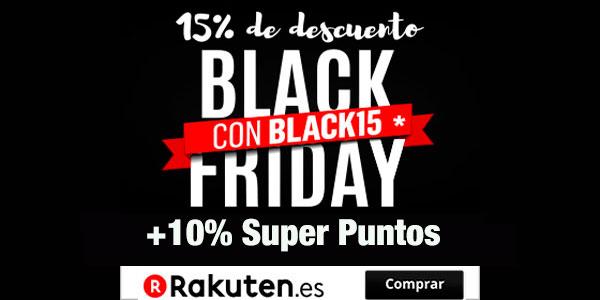 Black Friday en Rakuten. 15% Descuento Directo en TODO + 10% en Super Puntos