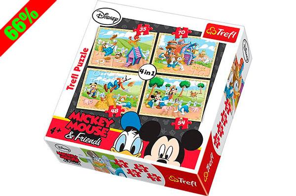 Chollo! Pack 4 Puzzles Mickey Mouse & Friends Disney Trefl barato 4 euros. 66% Descuento