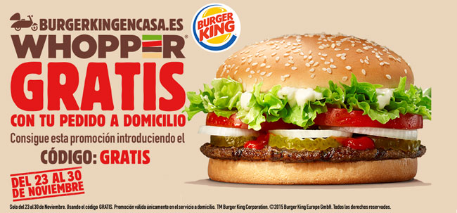 ¡Chollo Black Friday! Whopper GRATIS con tu pedido a Domicilio en Burger King