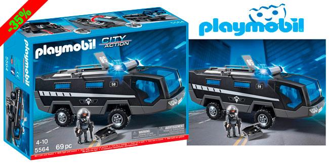 ¡Chollo! Camion Unidad Especial de Policia Playmobil 5564 barato 32 euros. 35% Descuento