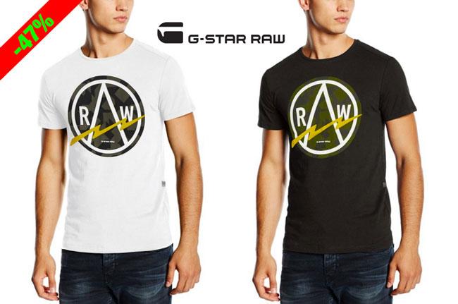 ¡Chollo! Camiseta G-Star Raw Bauchan manga corta barata 15 euros. 47% Descuento
