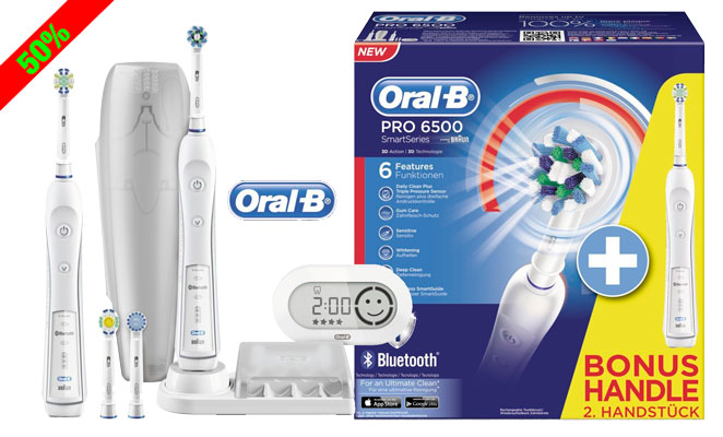 ¡Chollo! Kit Cepillo ORAL-B Pro 6500 con Bluetooth y Cepillo Extra barato 128 euros. 50% Descuento