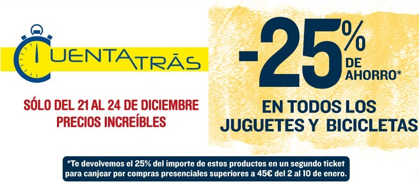 Promoción Cuenta Atrás 25% de Ahorro en Juguetes en Hipercor. Hasta 24 Diciembre