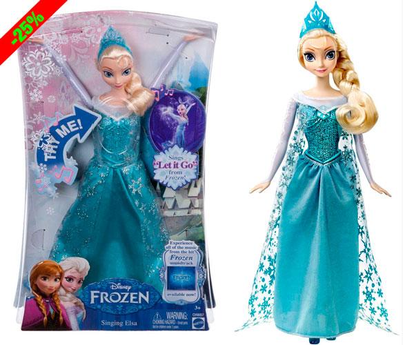 ¡Chollo! Muñeca Elsa Princesa Cantarina Disney Frozen 33cm barata 17 euros. 25% Descuento