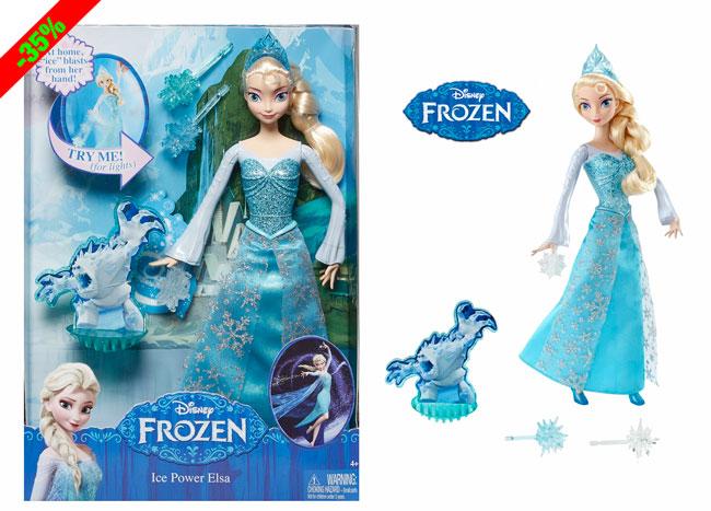 ¡Chollo! Muñeca Frozen: Elsa Magia de Hielo 30cm barata 13 euros. 35% Descuento