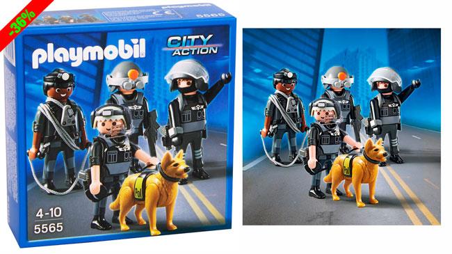 ¡Chollo! Equipo Unidad Especial de Policia Playmobil (5565) barato 9 euros. 36% Descuento