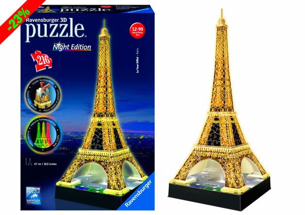 ¡Chollo! Puzzle 3D Ravensburger Torre Eiffel Night Edition barato 23 euros. 23% Descuento