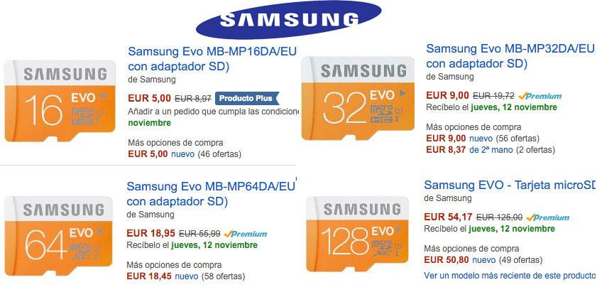¡Chollo! Tarjeta microSD Samsung EVO baratas 16gb 5€, 32gb 9 euros, 64gb 19€ y 128gb 54€