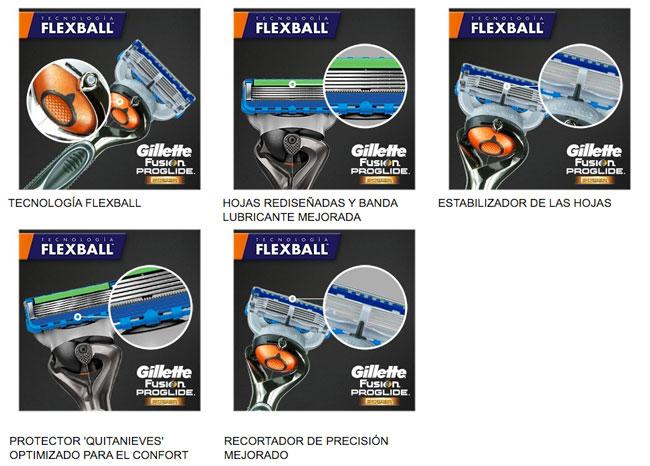 tecnologia gillette fusion proglide flexball barata