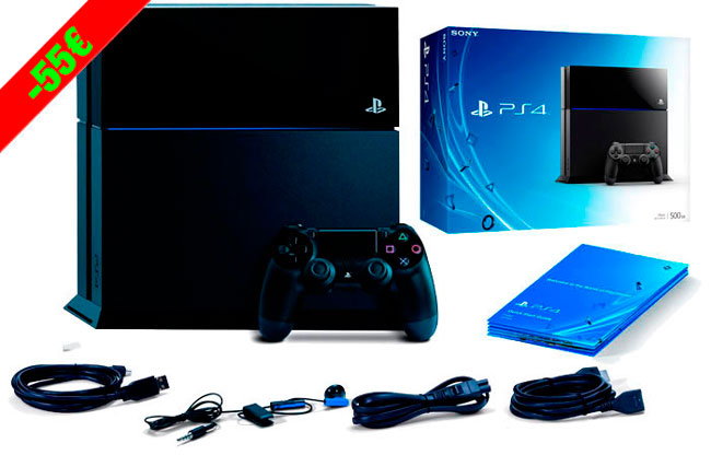 ¡Chollo! Consola SONY PlayStation 4 PS4 500GB barata 295 euros. -55€ Descuento