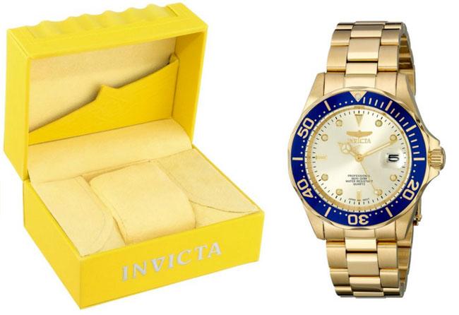 ¡Chollo! Reloj de cuarzo dorado INVICTA 14124 barato 50 euros. 87% Decuento