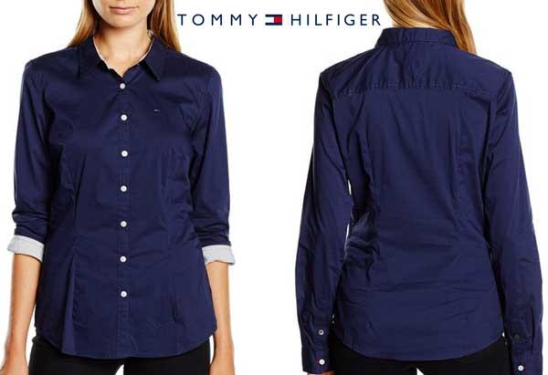 camisa tommy hilfiger faina azul barata