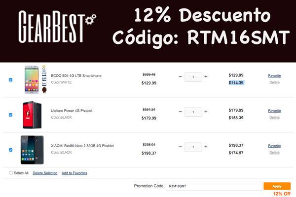codigo descuento 12% gearbest smartphone y tablets baratos
