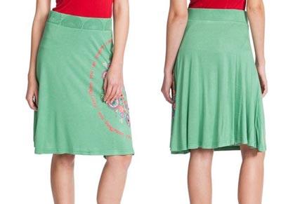 falda-desigual-cable-en-verde-barata