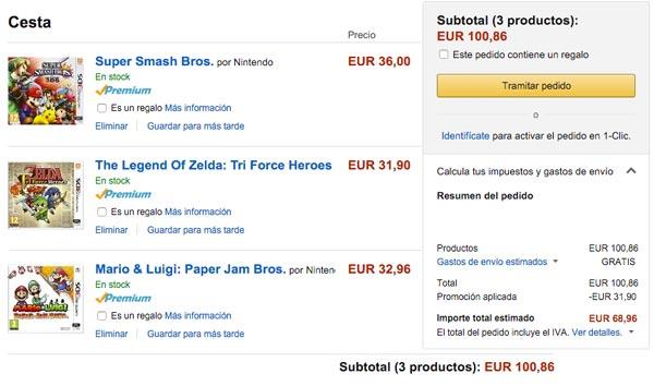 promocion 3x juegos de nintendo 3ds baratos ejemplo