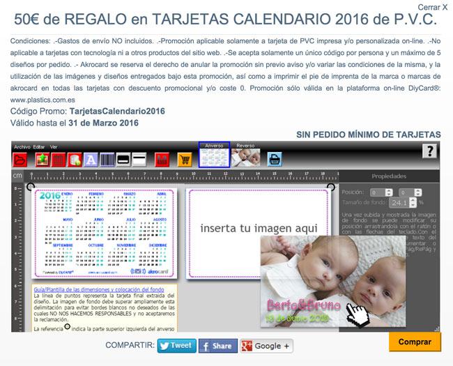 promocion tarjetas calendario akrocard gratis