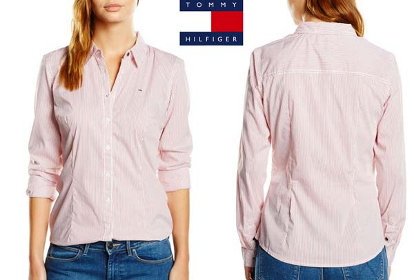 camisa tommy hilfiger faina stripe rosa
