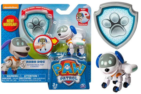 robo dog barato patrulla canina nuevo personaje serie paw patrol figurar de accion pack pup badge