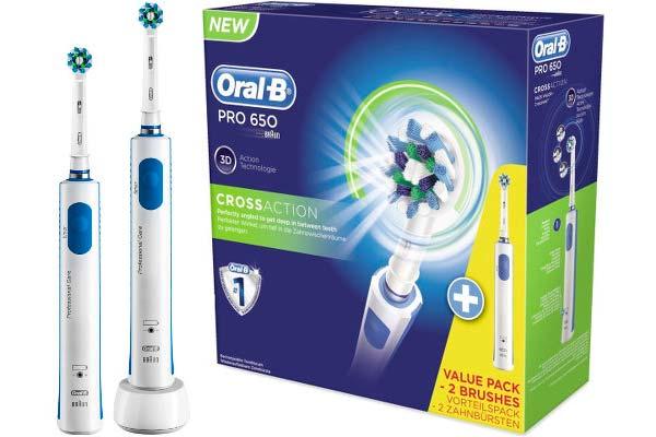 Pack 2 Cepillos de dientes electrico Braun Oral-B Pro 650 baratos