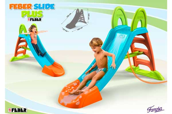 feber slide plus barata con agua tobogan