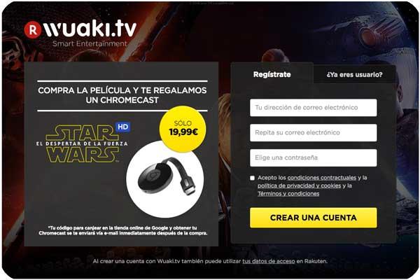 wuaki chromecast tv despertar de la fuerza barato