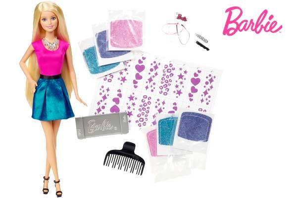 barbie muñeca mechas de purpurina