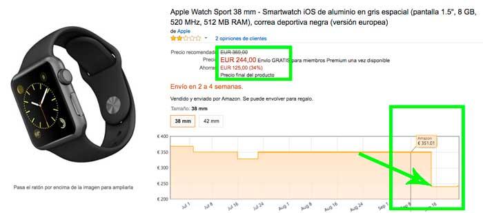 bajada precio apple watch 38mm barato rebajas chollos amazon blog de ofertas BDO