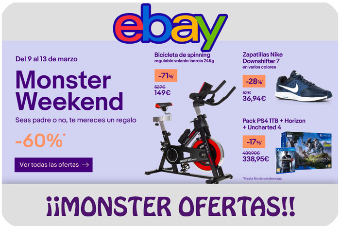 monster weekend ebay chollos rebajas blog de ofertas bdo