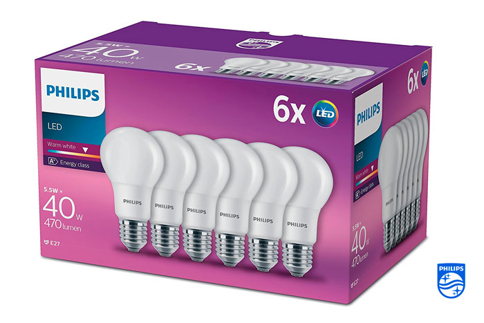 Pack 6 bombillas LED Philips E27 baratas oferta descuento chollo blog de ofertas bdo