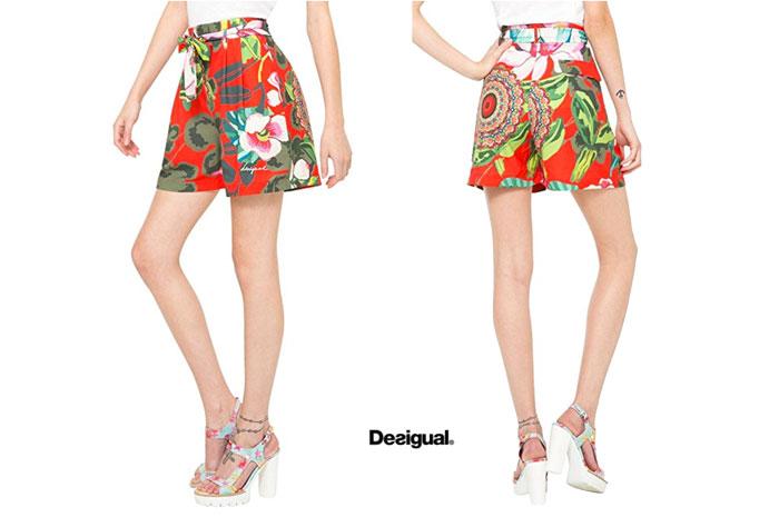 Pantalones cortos Desigual Flores 2 baratos ofertas descuentos chollos blog de ofertas bdo