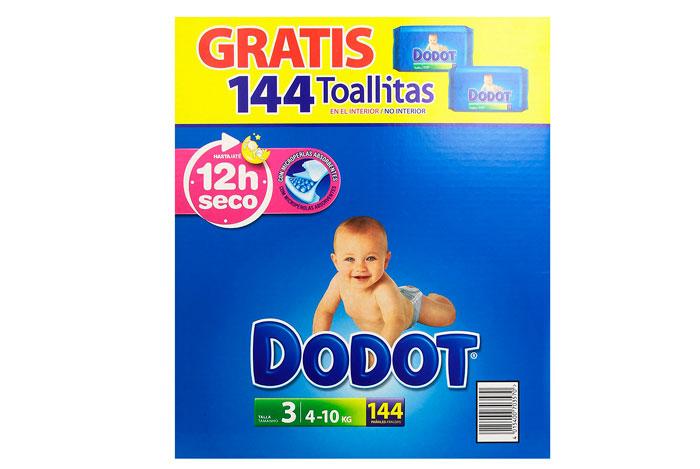 144 Pañales Dodot talla 3 baratos 22,02€ + 144 toallitas Gratis