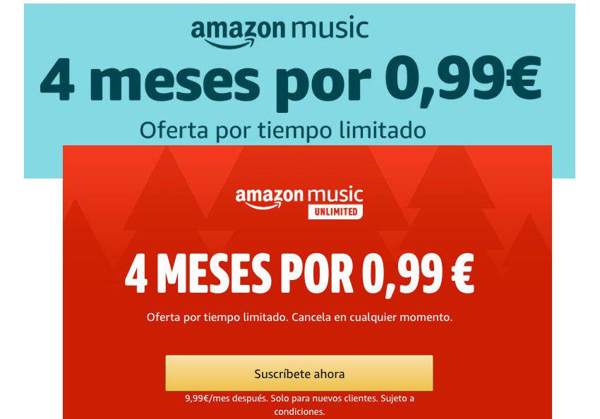 4 Meses Amazon Music Unlimited sólo 0,99€