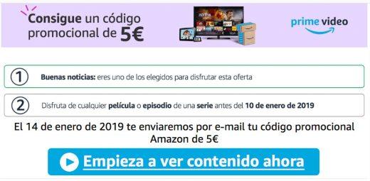 codigo promocional 5 euros gratis en amazon por ver una serie o pelicula en prime video