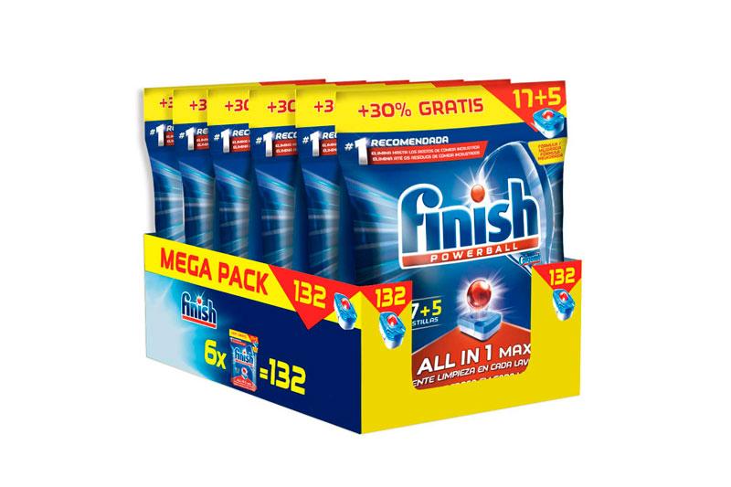 Finish todo en 1. 132 pastillas lavavajillas baratas