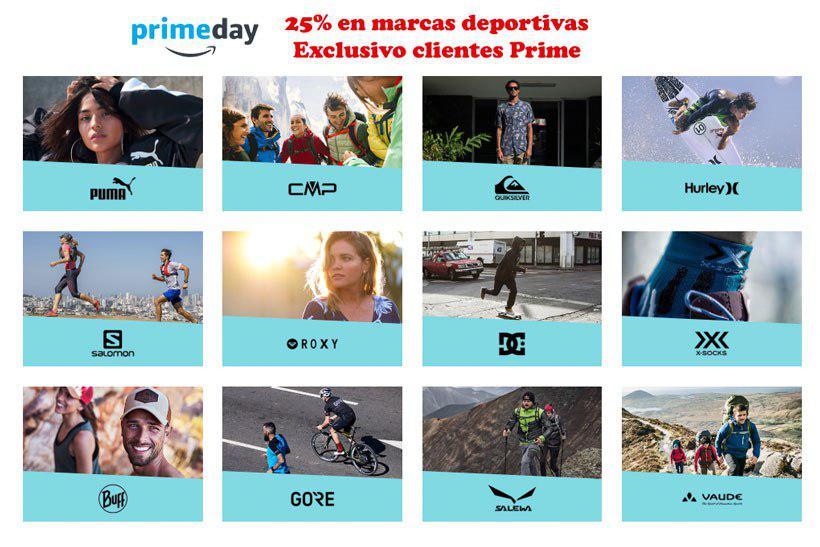 Primeday. 25% marcas deportivas. Exclusiva clientes Prime
