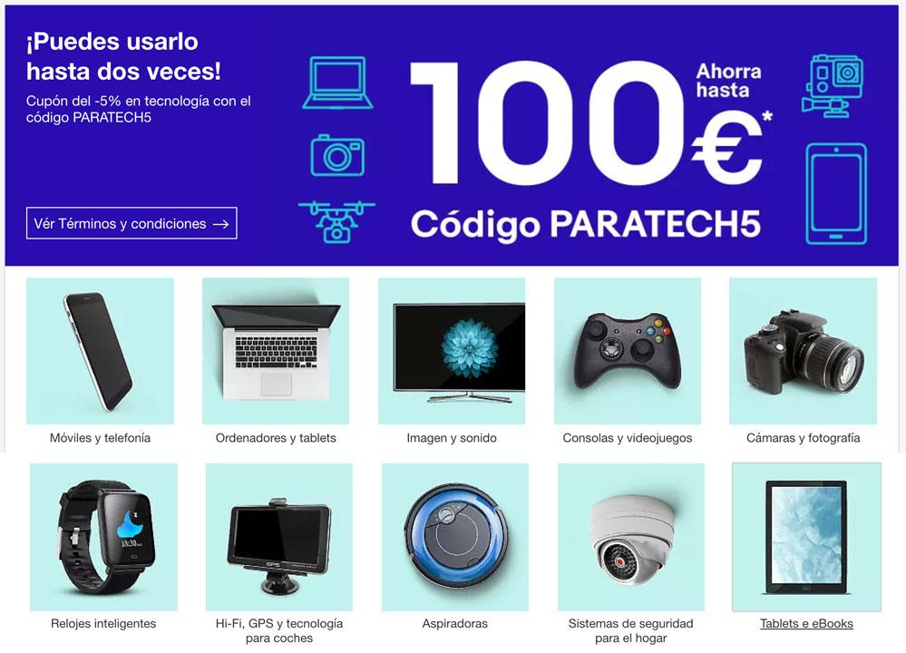 paratech5 codigo descuento ebay para tecnologia