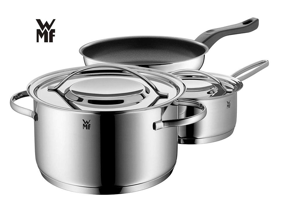 WMF Gala Set Batería de ollas, 3 Piezas, Apta para Todo Tipo de cocinas Incluso inducción